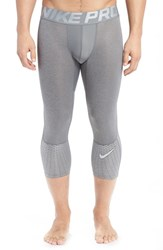 Nike Men's Hypercool Max Dri Fit Three Quarter Training Tights Carbon Heather Silver