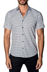 Jared Lang 'S Trim Fit Scooter Print Sport Shirt White Scooters