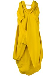 Rick Owens Draped Cowl Neck Dress Yellow Orange
