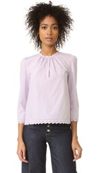 La Vie Rebecca Taylor Long Sleeve Pop Top With Eyelet Detail Wisteria