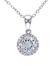 Sterling Silver Aquamarine And Diamond Halo Pendant Necklace Blue