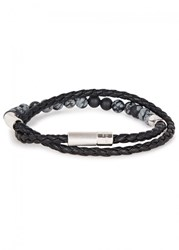 Tateossian Havana Black Leather Wrap Bracelet