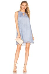 Bobi Black Chiffon Keyhole Mini Dress Blue