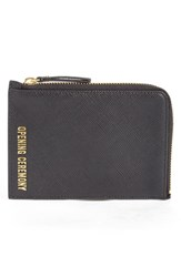 Opening Ceremony Logo Embossed Small Saffiano Leather Zip Pouch Black