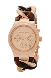 Michael Michael Kors Women's Runway Tortoise Chain Link Watch Metallic