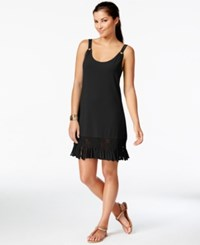 Dotti Fringe Trim Hardware Dress Cover Up Women's Swimsuit Black