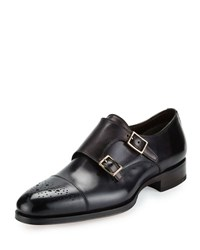 Tom Ford Austin Double Monk Strap Leather Loafer Grey