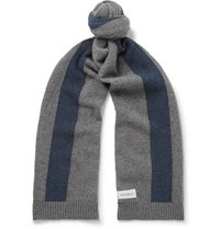 Oliver Spencer Arbury Striped Wool Scarf Gray