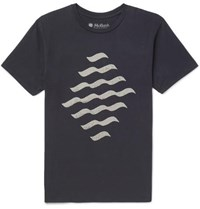 Mollusk Reflections Printed Cotton Jersey T Shirt Navy