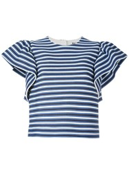 Msgm Ruffled Sleeves Striped Blouse Blue