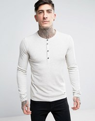 Boss Orange By Hugo Long Sleeve Henley Slim Fit Waffle Beige