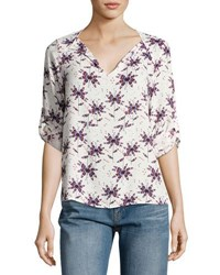Collective Concepts Floral Print Split Neck Top Blue