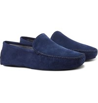 Thom Sweeney Cashmere Lined Suede Slippers Blue