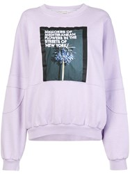Each X Other Front Printed Loose Sweatshirt Pink And Purple
