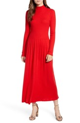 Hinge Maxi Sweater Dress Red Bloom