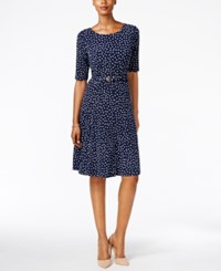Charter Club Petite Printed Belted Fit And Flare Dress Only At Macy's Intrepid Blue Combo
