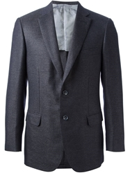 Brioni Woven Fitted Blazer Blue