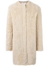 Vanessa Bruno Athe Faux Fur Midi Coat Nude And Neutrals