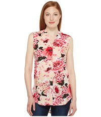 Jag Jeans Aspen Sleeveless Top In Rayon Print Pink Poppies Women's Sleeveless Multi