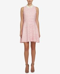 Cece Melody Tweed Fit And Flare Dress Pink Ivory