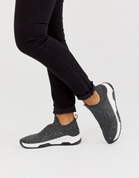 Bershka Knitted Pull On Sneakers In Gray Gray