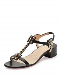 Christian Louboutin Kaleidra Spike T Strap Red Sole Sandal Version Black