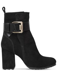 Lanvin 85Mm Square Buckle Suede Ankle Boots Black