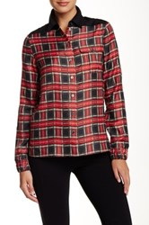 L.A.M.B. Quilted Patch Silk Tartan Blouse Multi