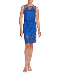 Monique Lhuillier Two Piece Embroidered Top And Skirt Set Cobalt