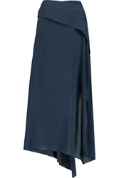 Donna Karan Draped Georgette Wrap Skirt Blue