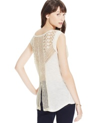 American Rag Crochet High Low Tunic Top Egret
