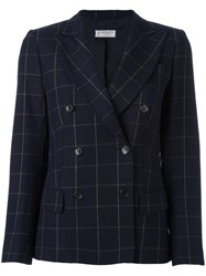 Alberto Biani Checked Blazer Blue