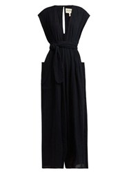 Mara Hoffman Whitney Deep V Neck Organic Cotton Jumpsuit Black
