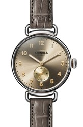Shinola The Canfield Alligator Strap Watch 38Mm Grey Taupe Sunray Silver
