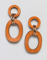 Stradivarius Wooden Circle Earrings Brown
