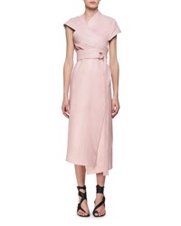 Proenza Schouler Belted Leather Asymmetric Midi Wrap Dress Pink