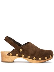 Tory Burch Blythe Studded Clogs Brown
