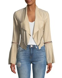 Haute Hippie Festival Open Front Cropped Stitched Jacket Tan