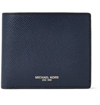 Michael Kors Harrison Rfid Blocking Cross Grain Leather Billfold Wallet Navy