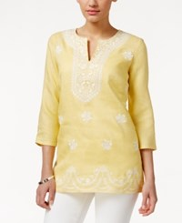 Charter Club Embroidered Linen Tunic Only At Macy's Naples Gold