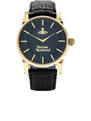 Vivienne Westwood The Finsbury Embossed Leather Watch Black Navy