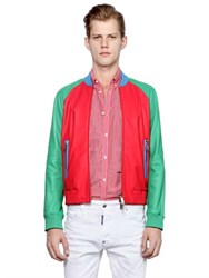 Dsquared2 Color Block Nappa Leather Bomber Jacket