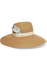 Eugenia Kim Carmen Feather Trimmed Woven Paper Hat Camel