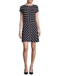 Calvin Klein Short Sleeved Block Striped Panel Dress Twilight