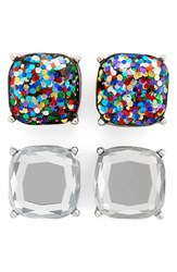 Women's Bp. Square Stud Earrings Set Of 2 Multi Crystal