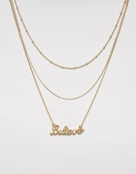 Monki Triple Layed Believe Necklace Gold