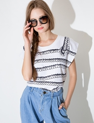 Pixie Market Rope Stripe Nautical Tee