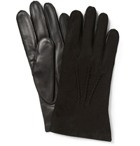 Dents Suede And Leather Gloves Black