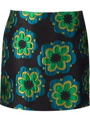 Suno Embroidered Flower Mini Skirt Black