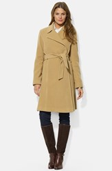 Women's Lauren Ralph Lauren Wool Blend Wrap Coat Laurel Camel